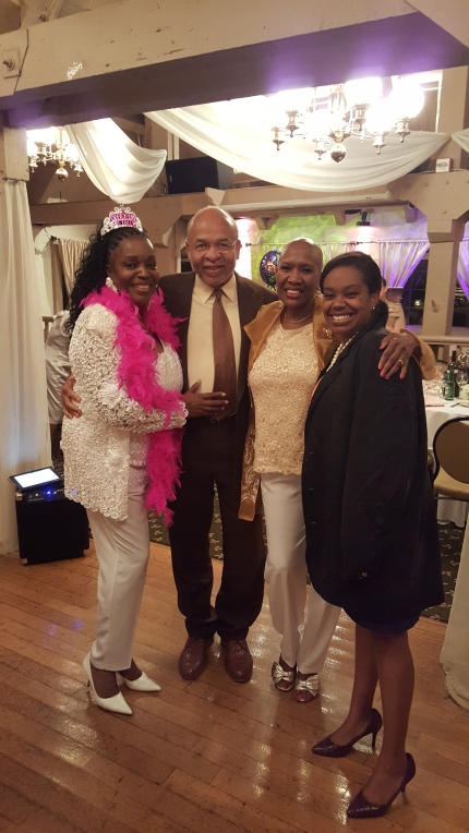 My husband, my sister, and my daughter and me (in tiara and boa)  at my retirement dinner-Thank you Avocado Elementary School and my 3rd Grade